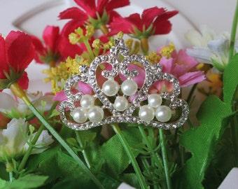 Crystal Crown Diamente Rhinestone Pearl Tiara Bridal Wedding Baby Accessories
