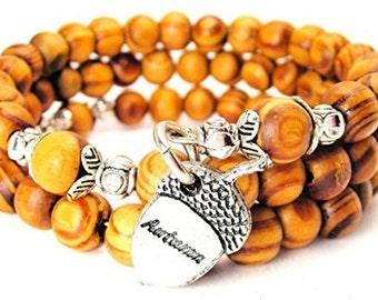 Handmade Autumn Acorn Wrap Around Wood Bracelet