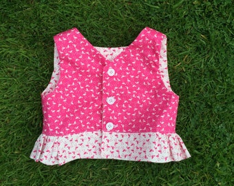 girls peplum top, age 2 girls top, summer top, pink flamingos, toddler fashion, pink top