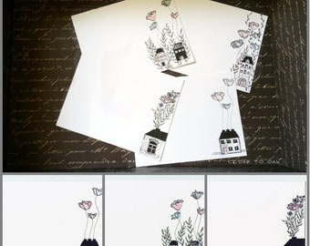 Floral Inspired Hand-Drawn- Set 8 Flat Notecards