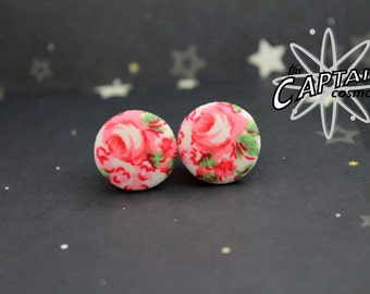 """Button plugs 13mm 1/2""""  flower fabric pink red gauges stretched ears lobes"""
