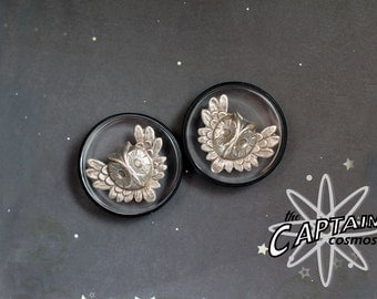 "Silver owl plugs gauges gauged ears 38mm 1""1/2 stretched ears tunnels"