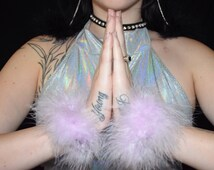 PAIRS of marabou feather 90s Clueless Cher Ariana Grande Scream Queens Chanel fluffy wrist cuffs Britney Spears fluffy hair ties Halloween