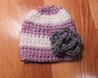 Purple Crochet Rosette Hat
