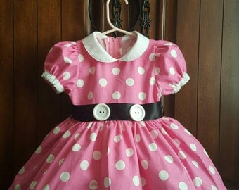 100% Cotton Peter Pan Collar Cotton Minnie Mouse Polka Dot Dress with Matching Bow and Petticoat
