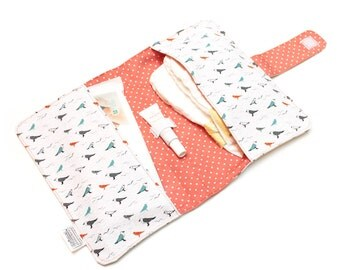 cotton diaper clutch, nappie wallet, bag for changing kit