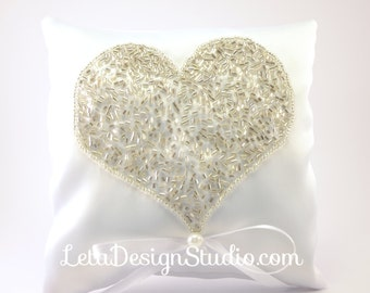 Heart Embroidered Wedding ring pillow Wedding handmade ring bearer pillow, embroidered with beads Bridal ring bearer Heart Ring Pillow