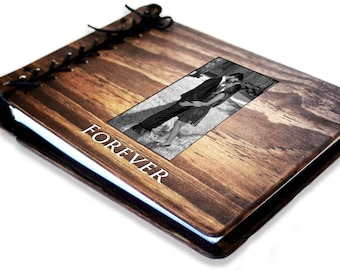 Photo Wedding Guest Book Rustic Personalized Wooden W Leather Spine Album