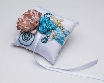 Bridal Ring pillow\marine wedding pillow\Wedding pillow\turquoise and chocolate