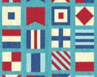 Benartex Ships Ahoy Collection - Azure Nautical Flags