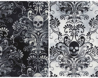 Timeless Treasures - Black Skull Damask from Wicked Eve Collection