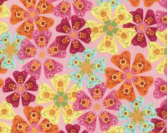 Floral Cotton Fabric, Packed Floral, Modern Children's Fabric, Playful Fabric, Pink, Orange, Yellow, Aqua, Flowers, Colorful