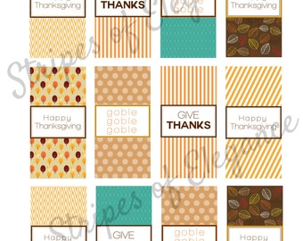 Thanksgiving Candy wrappers/Vase labels/Candle labels/Happy Thanksgiving Table decor Give Thanks/Gobble,Gobble Brown/Cream PRINTABLE DIGITAL