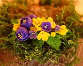 Bridal flower comb - purple crocuses.Spring blossom hair comb - Wedding flower comb - Bridal comb. Flower hair accessory