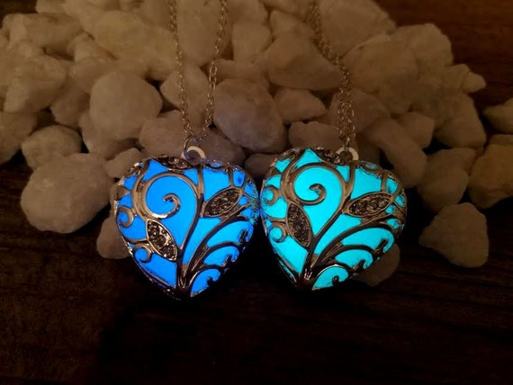 Glow Heart Necklace, Anna's Frozen Heart, Glow in the Dark Heart, Aqua Glowing Necklace, Anniversary Gift for Her, Unique Mother's Day Gift