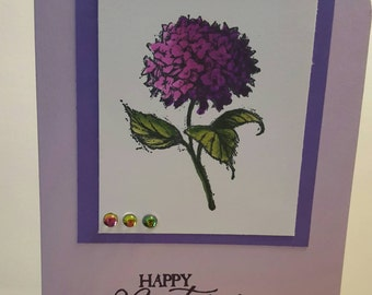 Beautiful purple hydrangea birthday card