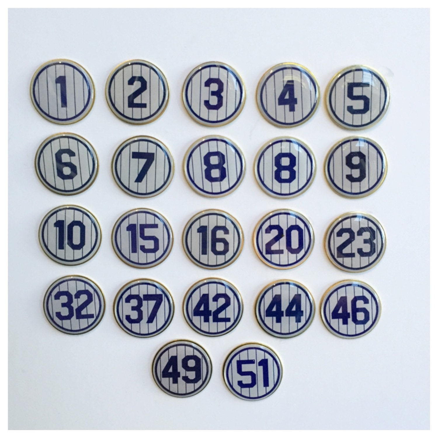 New York Yankees Retired Number Lapel Pins