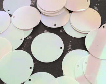 Round Flat Sequins 25mm / 1inch White AB Rainbow Gloss x 30