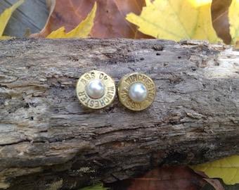 Stainless steel backs! Pealr bullet earrings