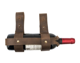Thick Leather Bike Wine Holder Handmade by Hide & Drink -Bourbon Brown