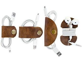 Rustic Cord Keeper (Cord Clam) 4-Pack Handmade by Hide & Drink