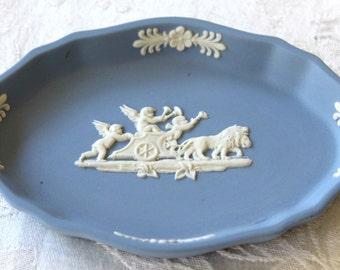 Vintage Wedgewood Blue Jasperware oval pin tray - Cupid on chariot