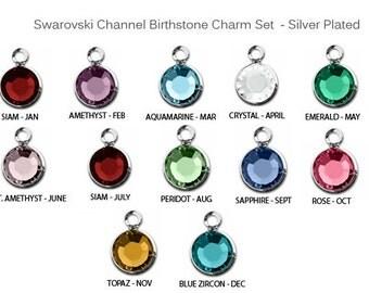 Add On Swarovski Crystal Birthstone, Add a Birthstone Charm to any Bracelet
