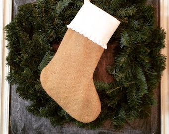 Wholesale 20 stocking blanks - Burlap Stocking with Pleated Cuff
