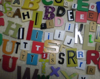 100 Alphabet Letters Scrabble Mix Wood Plastic Ceramic Cardboard Metal Many Vintage