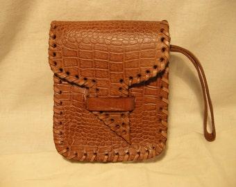 Vintage 1980's Handmade Light Brown Leather Men's Hand Bag