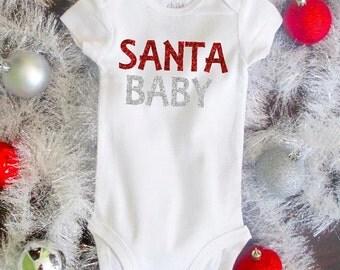 Santa Baby Girl Christmas Bodysuit Shirt