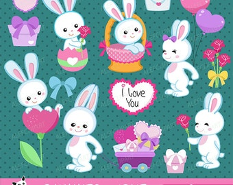 50% OFF SALE Bunnies in love - Digital Clipart Set, Bunnies Clipart, Valentine Clipart, Rabbits Clipart,Valentine Day.
