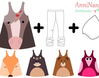 eBook AnniNanni animal dress pattern instructions dress Fox Panda OWL horse Unicorn cat bear