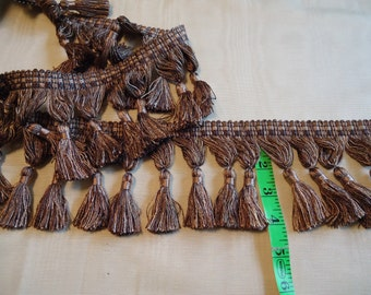 Decorative 4 inch Tassel Trim in Mauve and Putty, Sold by yard