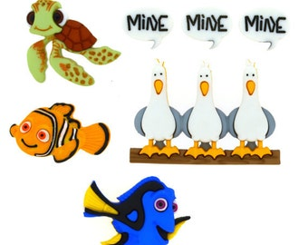 SET of 7 Shank Adorable Finding Nemo Sewing Buttons