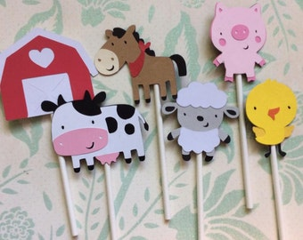 12 Detailed Farm Animal with White and Red Barn Cupcake toppers