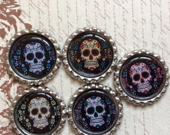 SET of 5 - Sugar Skull Bottle Caps For Pendants, Hairbows Hair Bow Centers - Ready to use