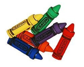 SET of 6 Shank Bright and Colorful Crayon Sewing Buttons