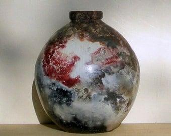 Pit fired ceramic vase