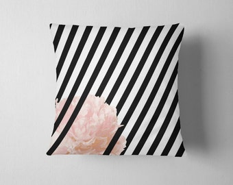 Black and white striped  pink peony flower throw pillow