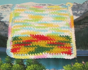 Upcycle hand crochet double thick hot pad UHP 018