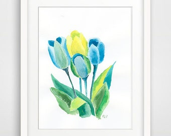 Tulips Watercolor / Green Blue Flowers watercolor / Flower Aquarelle / Ink Painting/ Botanical Art/ Home Decor / Wall Decor