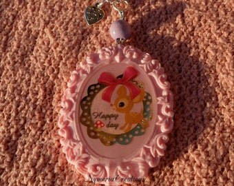 Lovely Pastel pink Cameo Necklace with kawaii Fawn Bambi Made with love