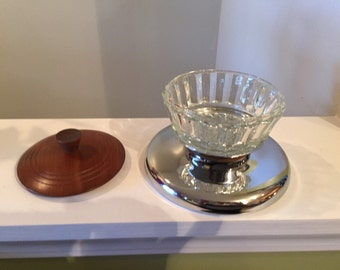 Vintage Kromex Glass Wood & Chrome Covered Bowl on Stand