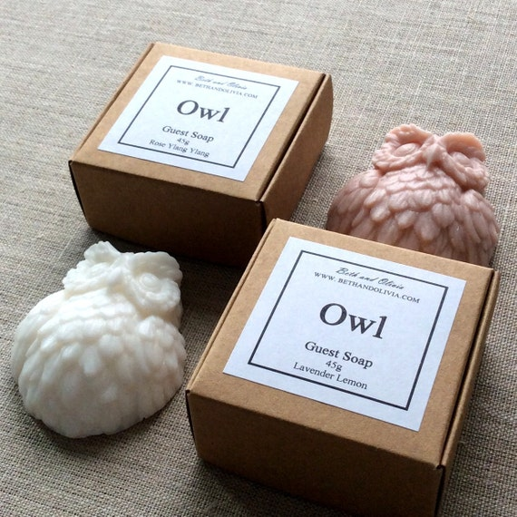 Owl Soap, Rose and ylang ylang soap, lavender lemon owl soap, guest soap, hotel soap, bachelorette party favors, bridal shower favors