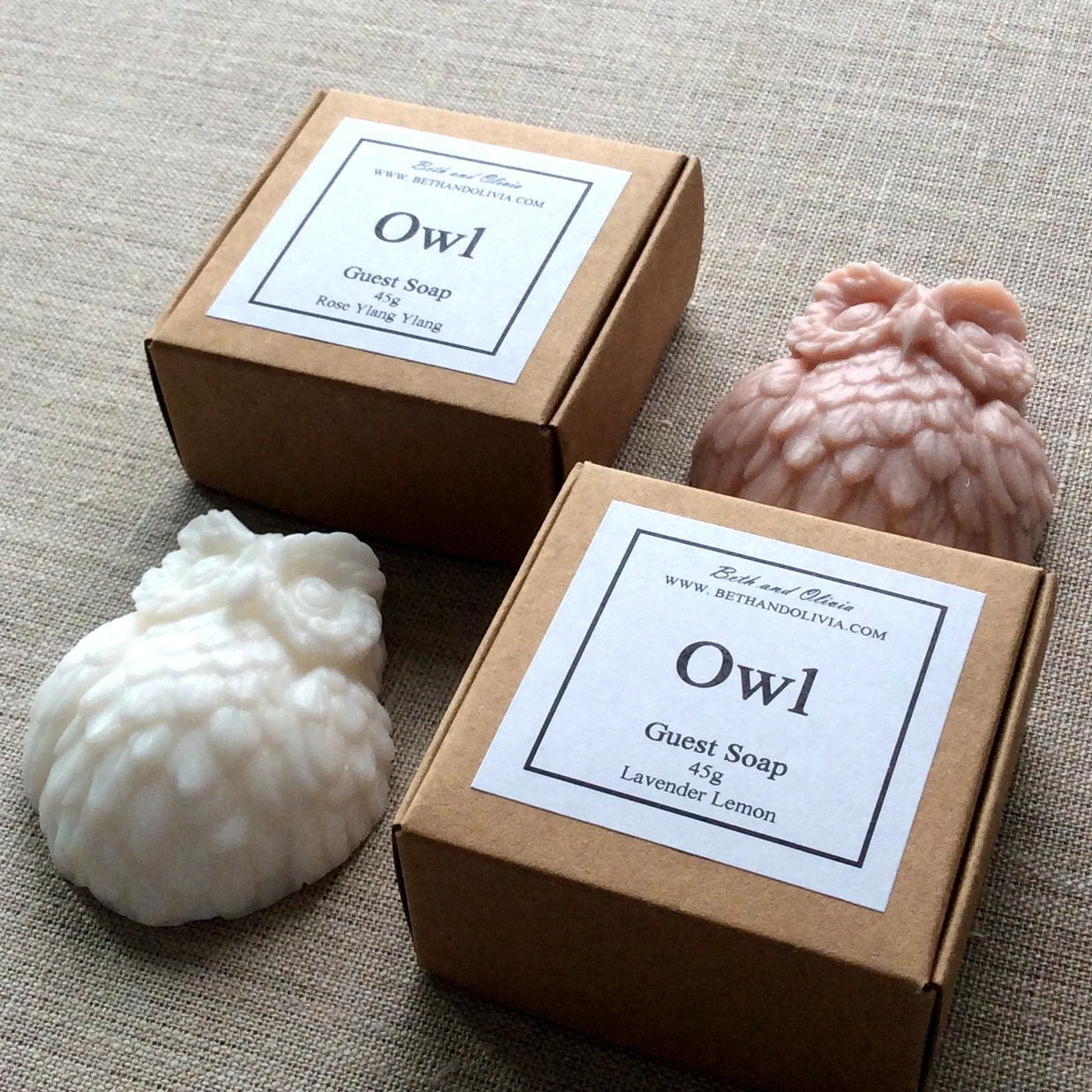 Owl Soap, Rose and ylang ylang soap, lavender lemon owl soap, guest soap, wholesale soap, bachelorette party favors, bridal shower favors