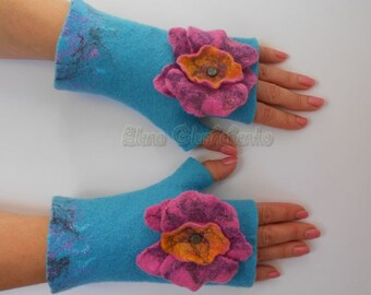 Felted Wool Fingerless Gloves Felted Mittens Light Blue Mittens  Wool Mittenss  Fashion Accessories Eco Friendly Mittens Gift for Woman