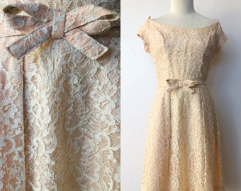1950's Just Peachy Lace Party Dress