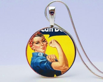 Girl Power Necklace - Girl Power Pendant - Empowerment necklace - Vintage Girl Power necklace
