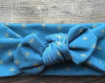 Grey Cross Knot Headband